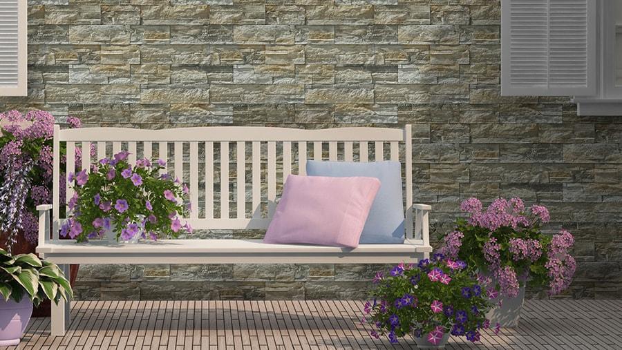 Terrasse mit Sitzbank und Anden Beige, dekorativ Stein ist ideal für Außen- und Innenbereich
