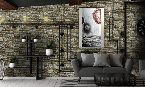 Bequemer Raum im Industriestil und an der Wand die einzigartige Aragone Beige, einfach ein artig.
