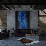 Schöne Galeriewohnung im grauen Tonnen und Ledersofas und Wandverkleidung von Aragone Gray