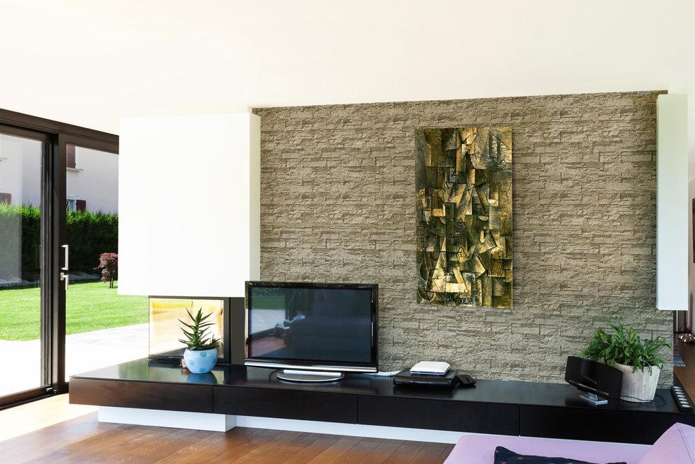 Ein modernes Haus mit weißen Wänden und einem Teil davon mit Ardennes Beige verkleidet.