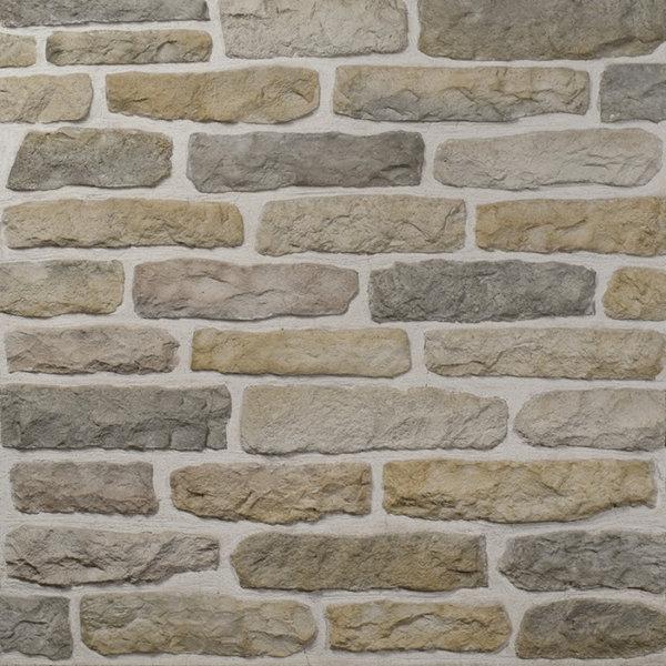 Decostone Armorique Beige, architektonisches Steinfurnier, künstlicher Stein, Oberflächenabdeckung 1.00m² pro Karton.