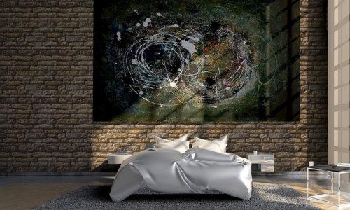 Loft Dekor Schlaff Zimmer mit einer moderner große Gemälde und Armorique Bronze als Verkleidungsstein.
