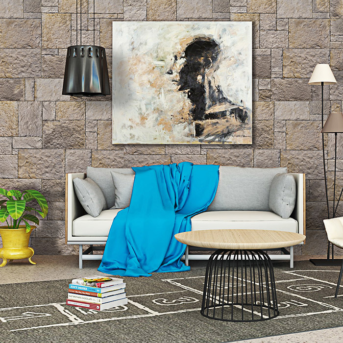 Moderner Wohnzimmer mit großen Sofa und Wand Verkleidung von dekorativen Stein Nevada