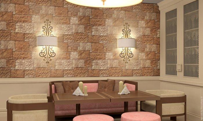 Restaurant Platz im alten Stil mit Steinverkleidung Nevada Red