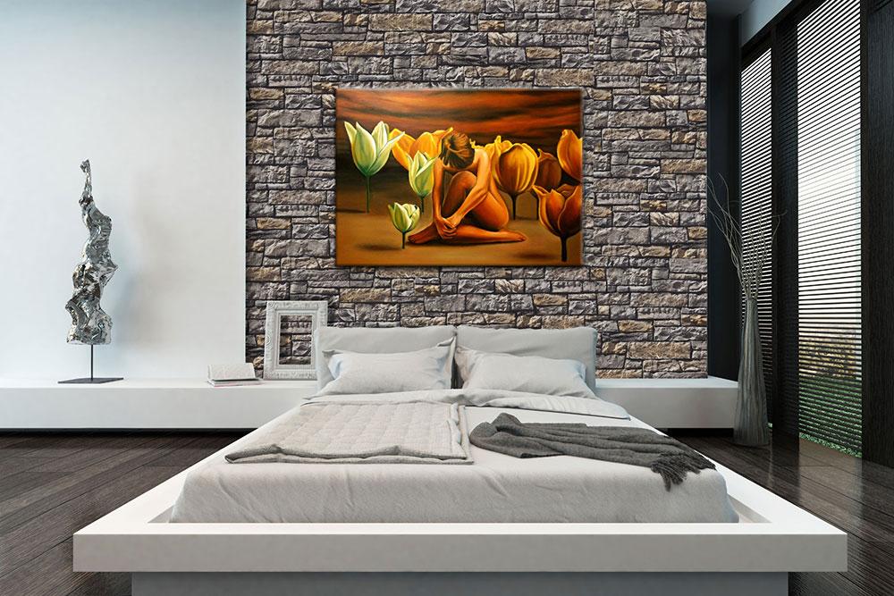 Modernes Schlafzimmer mit Statue der abstrakten Kunst und dem warmen dekorativ Stein von Aragone Gray