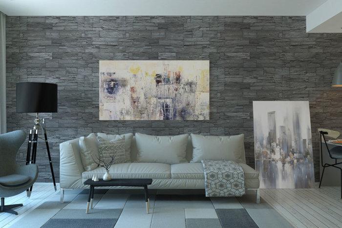 Gemütlich und bequem Wohnzimmer im grauer ton. Steinverkleidung Ardennes Gray