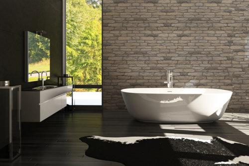 Modernes Badezimmer mit Steinfutter und schwarzer Fliese