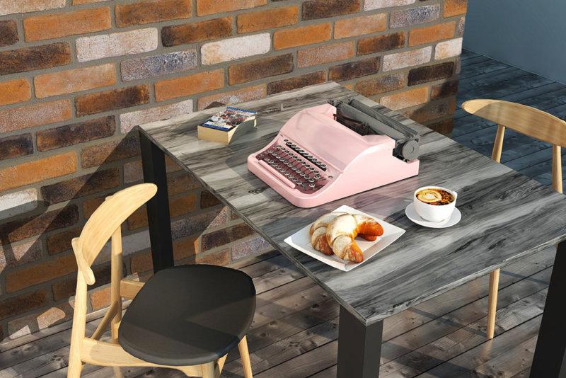 Frühstück zu Hause und die wärme des Deko verblender Decobricks Foggy Amber
